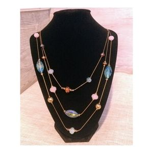 NWT Christopher & Banks 3 Strand Crystal Necklace